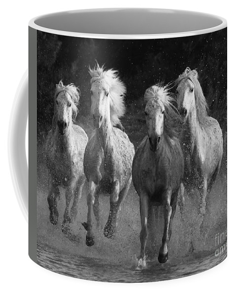 Camargue Coffee Mug featuring the photograph Camargue Horses Running by Carol Walker