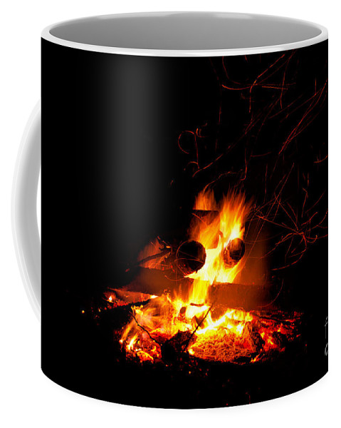 Abstract Coffee Mug featuring the photograph Campfire As A Symbol Of Warmth And Life On Black by Stephan Pietzko