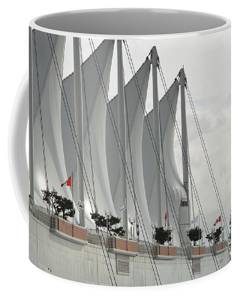 Canada Place. Sails Coffee Mug featuring the photograph Canada Place Sails by Nicki Bennett