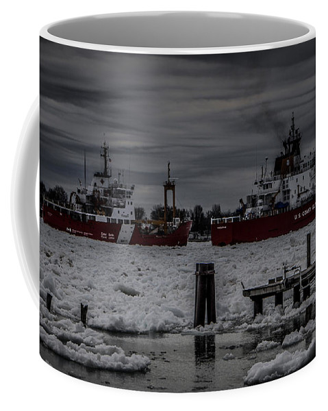 Ships Coffee Mug featuring the photograph Canadian And United States Icebreakers by Ronald Grogan