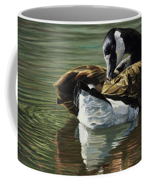 Goose Coffee Mug featuring the painting Canadian Goose by Lucie Bilodeau
