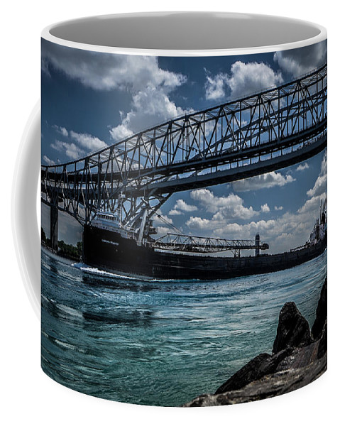 Ship Coffee Mug featuring the photograph Canadian Tranfer Under Blue Water Bridges by Ronald Grogan
