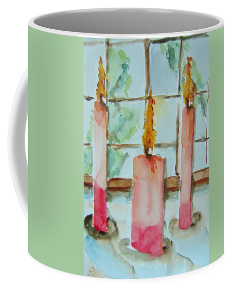 Candles Coffee Mug featuring the painting Candles In The Wind-ow by Elaine Duras