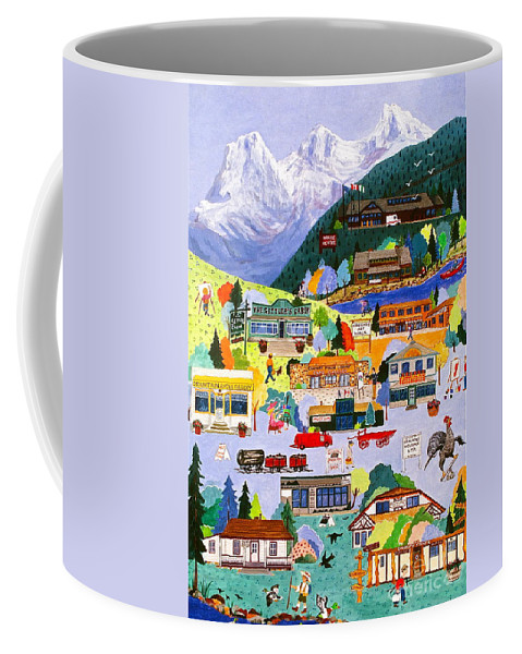 Canmore Alberta Coffee Mug featuring the painting Canmore Art Walk by Virginia Ann Hemingson