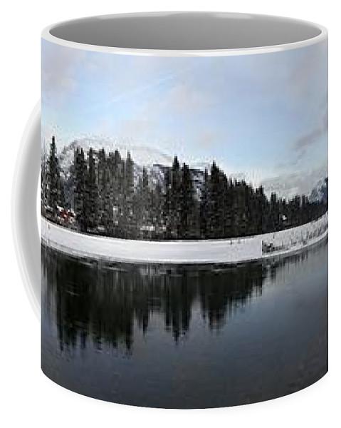 Panorama Coffee Mug featuring the photograph Winter Mountain Calm - Canmore, Alberta by Ian Mcadie