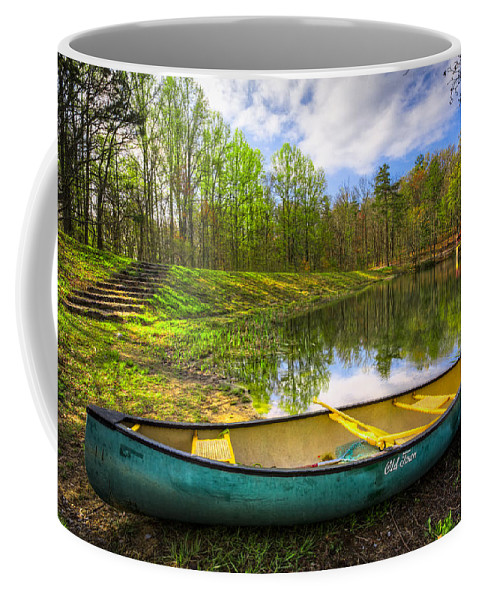 Appalachia Coffee Mug featuring the photograph Canoeing At The Lake by Debra and Dave Vanderlaan