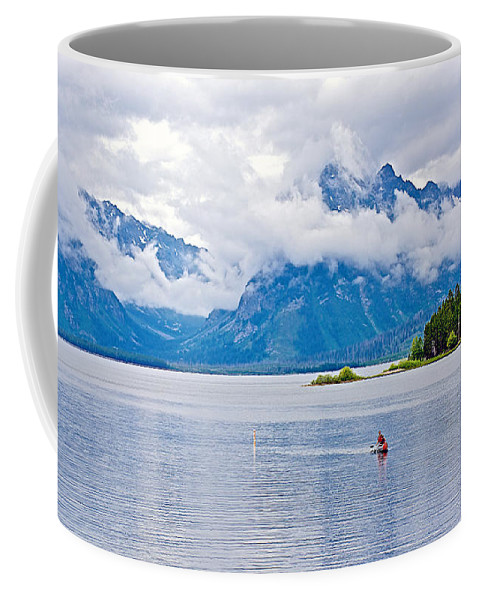 Canoeing In Colter Bay In Grand Teton National Park Coffee Mug featuring the photograph Canoeing In Colter Bay In Grand Teton National Park-wyoming by Ruth Hager