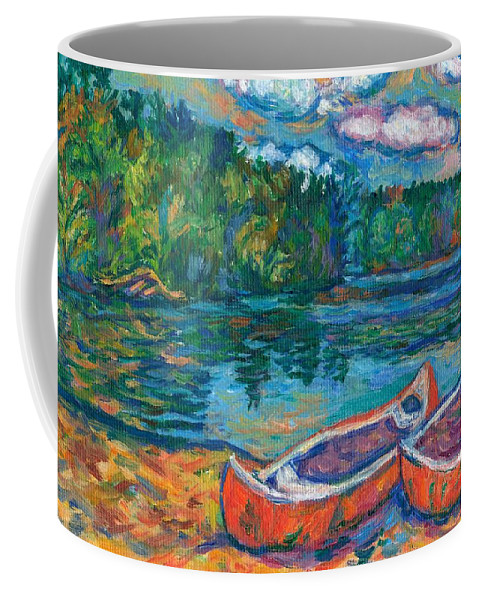 Landscape Coffee Mug featuring the painting Canoes At Mountain Lake Sketch by Kendall Kessler