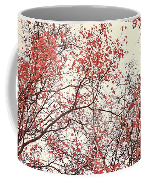 Red Coffee Mug featuring the photograph canopy trees II by Priska Wettstein