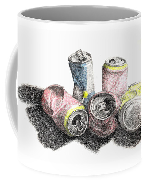 Sketch Coffee Mug featuring the drawing Cans Sketch by Conor O'Brien