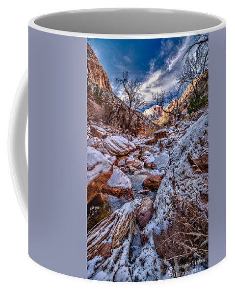 Canyon Coffee Mug featuring the photograph Canyon Stream Winterized by Christopher Holmes
