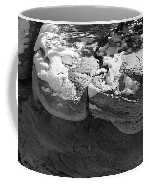 Digital Black And White Photo Coffee Mug featuring the digital art Snow In The Sun by Tim Richards