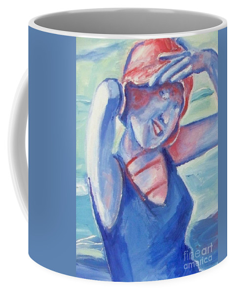 1920s Coffee Mug featuring the painting Cape May1920s Bathing Beauty by Eric Schiabor