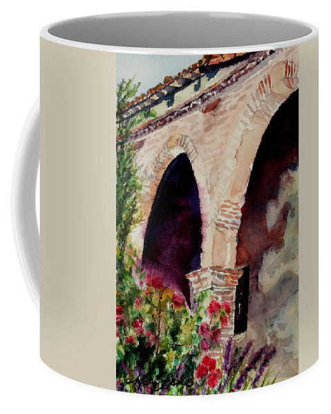 Watercolor Coffee Mug featuring the painting Capistrano Arches by Mary Benke