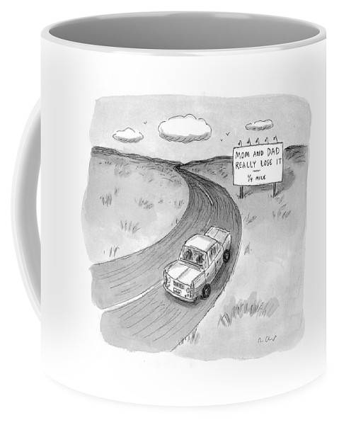 Automobiles -general Coffee Mug featuring the drawing Captionless 'mom And Dad Really Lose It - 1/4 by Roz Chast