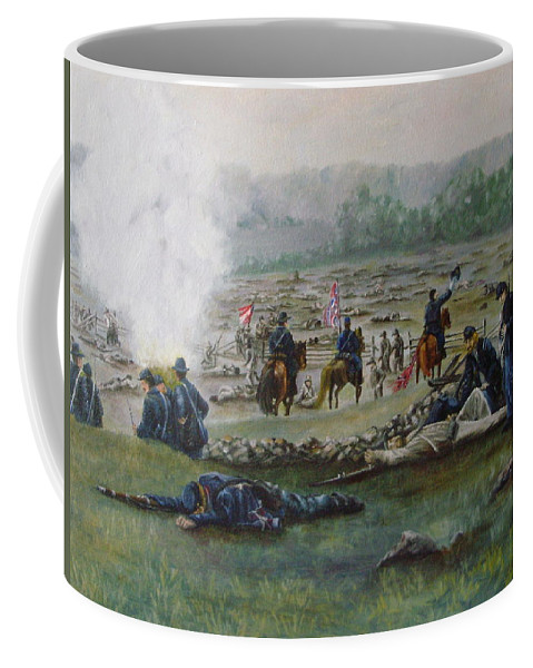 Civil War Coffee Mug featuring the painting Capturing The Flag-picketts Charge by Joann Renner