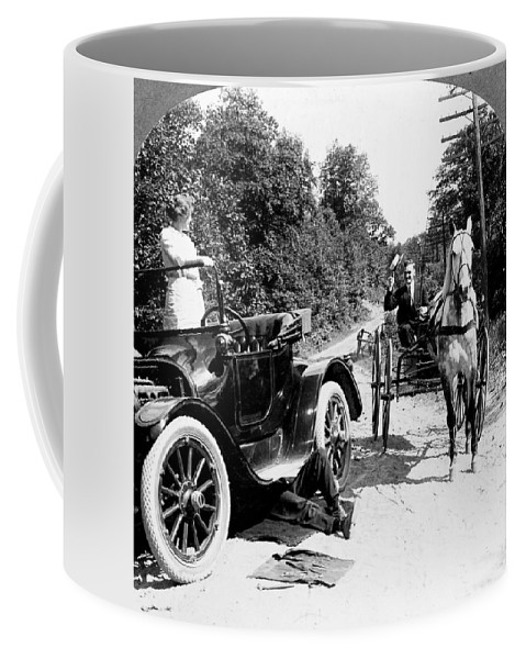 1914 Coffee Mug featuring the photograph Car And Carriage, 1914 by Granger