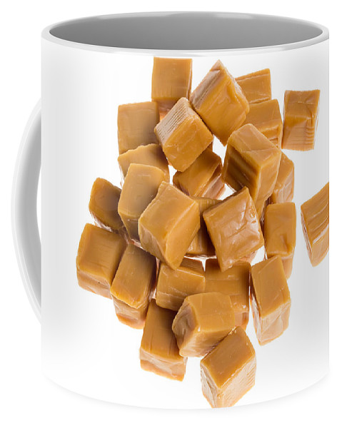 Food Coffee Mug featuring the photograph Caramel Cubes by John Trax