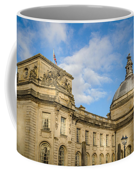 Blue Coffee Mug featuring the photograph Cardiff City Hall by Mark Llewellyn