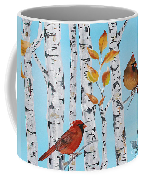 Acrylic Coffee Mug featuring the painting Cardinals Among The Birch-d by Jean Plout