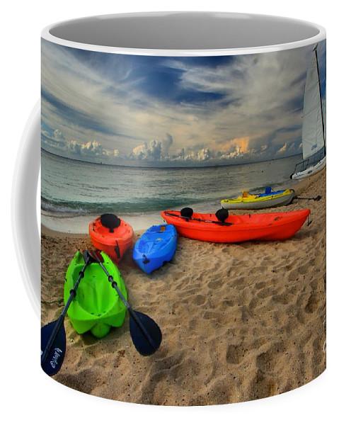 Caribbean Ocean Coffee Mug featuring the photograph Caribbean Kayaks by Adam Jewell