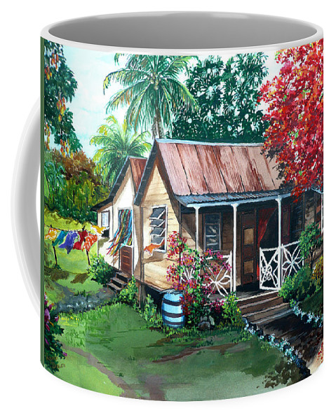 House Painting Caribbean Painting Tropical Painting West Indian Painting Old House Painting Flamboyant Tree Painting Poinciana Painting Red Painting Mango Tree Painting Watercolor Painting Greeting Card Painting Coffee Mug featuring the painting Caribbean Life by Karin Dawn Kelshall- Best