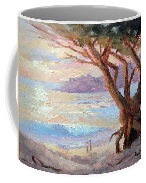 Carmel Coffee Mug featuring the painting Carmel Beach Winter Sunset by Karin Leonard