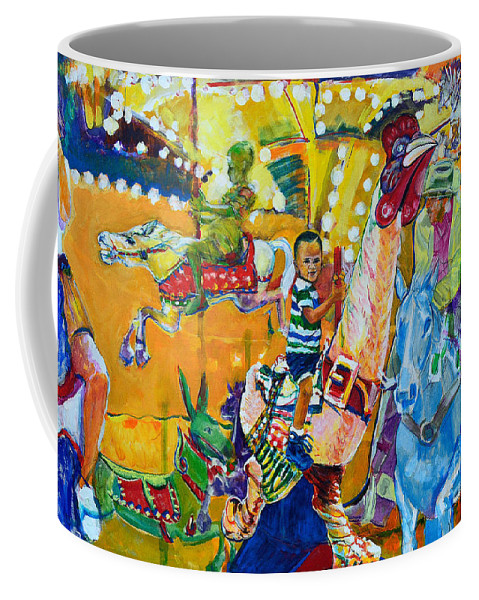 Carousel Coffee Mug featuring the painting Carousel Dreams by Charles M Williams