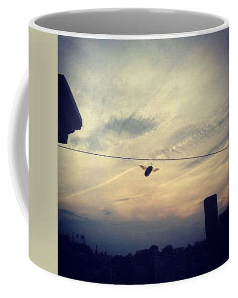 Bee Coffee Mug featuring the photograph Carpenter Bees Abound On The Deck by Katie Cupcakes