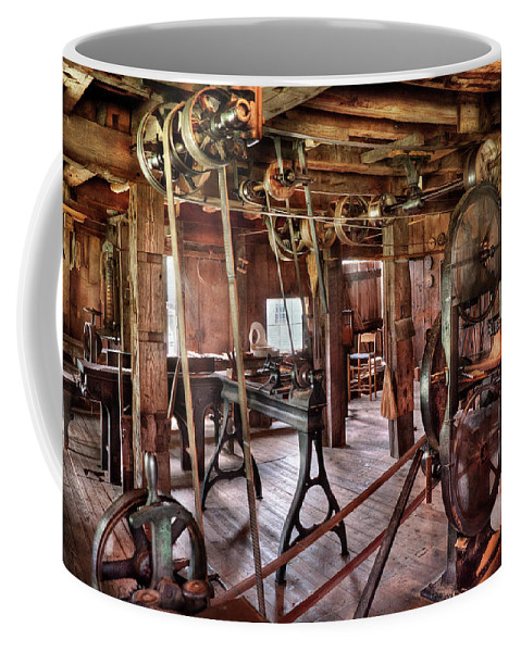 Quaint Coffee Mug featuring the photograph Carpenter - This Old Shop by Mike Savad