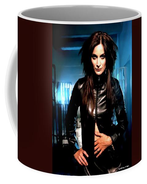Actress Coffee Mug featuring the digital art Carrie-Anne Moss by Gabriel T Toro