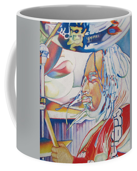 Carter Beauford Coffee Mug featuring the drawing Carter Beauford Colorful Full Band Series by Joshua Morton