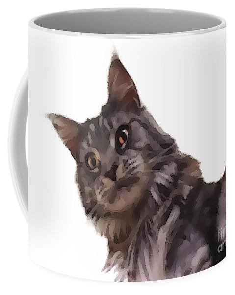 Cat Coffee Mug featuring the photograph Cartoon Gracie by Photos By Cassandra
