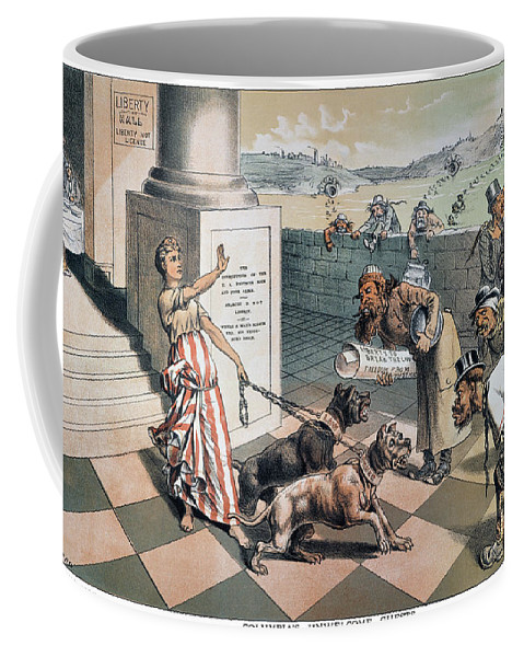 1885 Coffee Mug featuring the painting Cartoon Immigration, 1885 by Granger