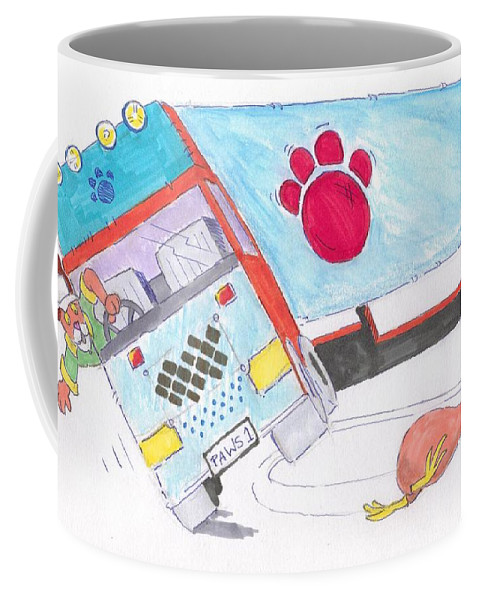 Lorry Coffee Mug featuring the painting Cartoon Truck Lorry by Mike Jory
