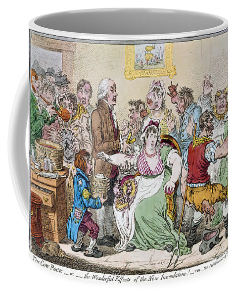 1802 Coffee Mug featuring the photograph Cartoon: Vaccination, 1802 by Granger