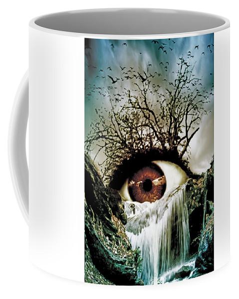 Eye Coffee Mug featuring the digital art Cascade Crying Eye by Marian Voicu
