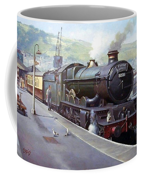Train Coffee Mug featuring the painting Castle At Kingswear 1957 by Mike Jeffries