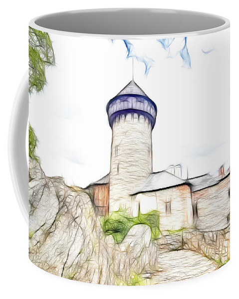 Architecture Coffee Mug featuring the digital art castle of the holy order - Sovinec castle by Michal Boubin