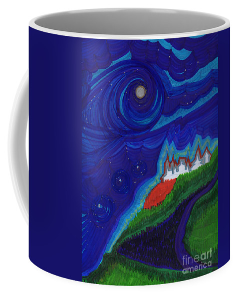 First Star Art Coffee Mug featuring the drawing Castle On The Cliff By Jrr by First Star Art