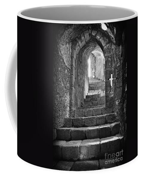 Subterranean Coffee Mug featuring the photograph Castle Subterranean Staircase by Jose Elias - Sofia Pereira