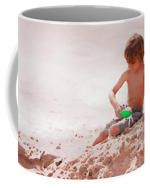 Boy Coffee Mug featuring the photograph Castlemaker by Alice Gipson