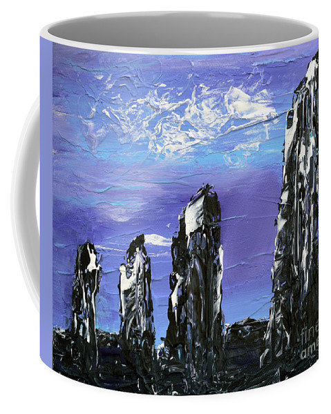 Castlenalact Coffee Mug featuring the painting Castlenalact Standing Stones by Alys Caviness-Gober