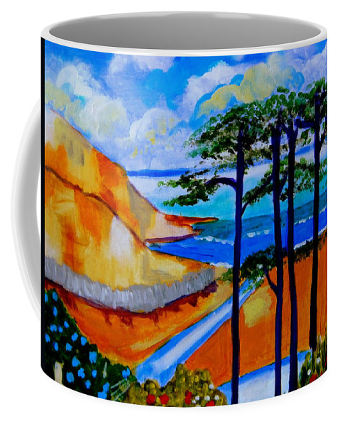 Seaside Coffee Mug featuring the painting Caswell Bay Wales by Rusty Gladdish