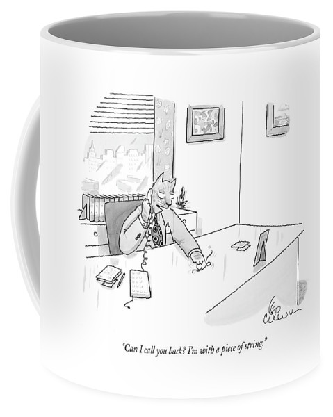 Business Management Cats Talking Problems Coffee Mug featuring the drawing Cat Executive On Phone by Leo Cullum