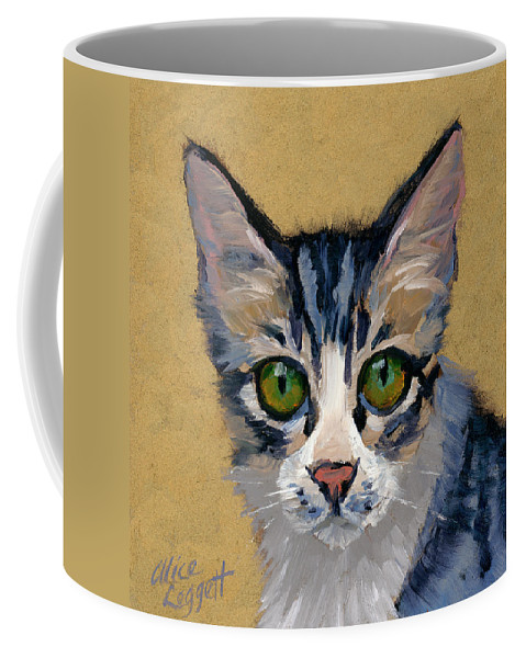 Cat Eyes Coffee Mug featuring the painting Cat Eyes by Alice Leggett