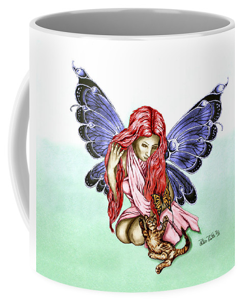 Cat Fairy Coffee Mug featuring the drawing Cat Fairy In Blue by Peter Piatt