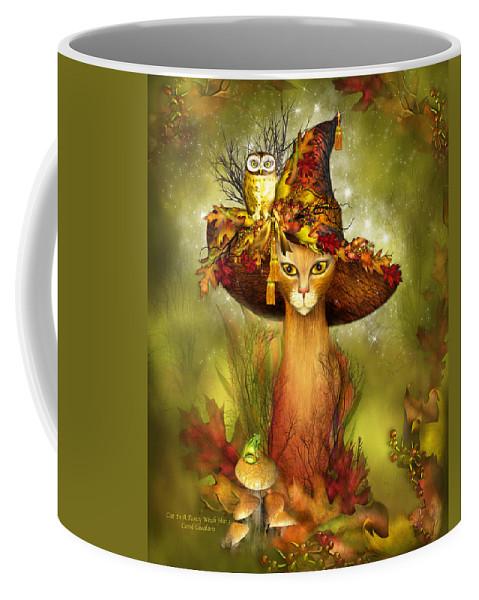 Carol Cavalaris Coffee Mug featuring the mixed media Cat In Fancy Witch Hat 3 by Carol Cavalaris