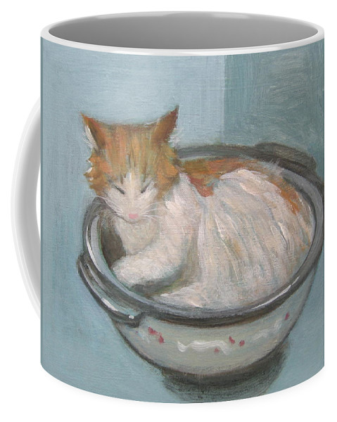 Cat Coffee Mug featuring the painting Cat In Casserole by Kazumi Whitemoon