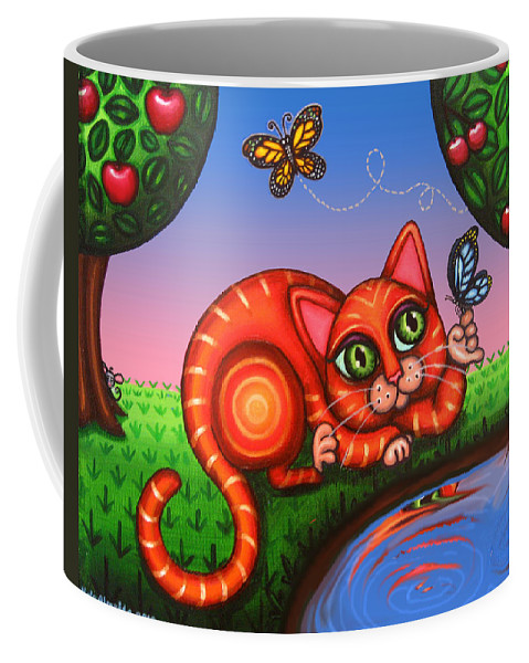 Cat Coffee Mug featuring the painting Cat In Reflection by Victoria De Almeida